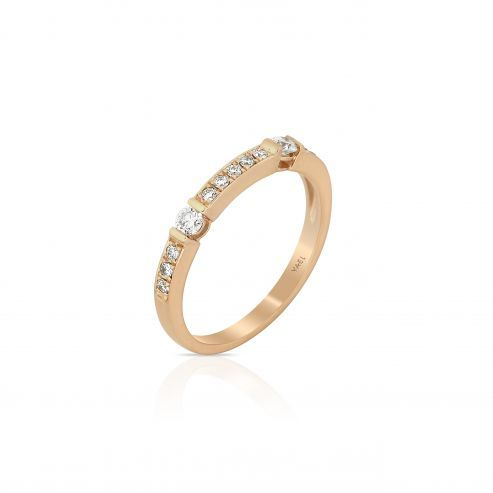 XENA-YELLOW GOLD DIAMOND STACAKBLE BAND