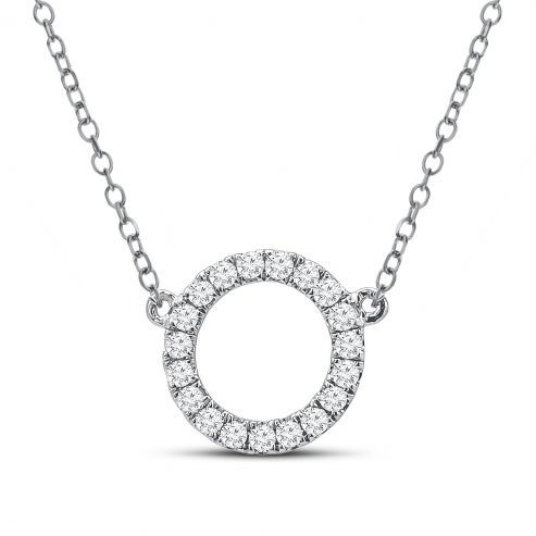 WHITE GOLD NECKLACE WITH CIRCLE PENDANT