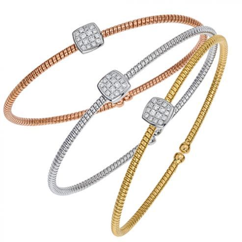 Gold and Diamond bangle bracelet - Single Square Station