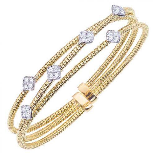 Gold and Diamond Multi Strand Cuff Bracelet