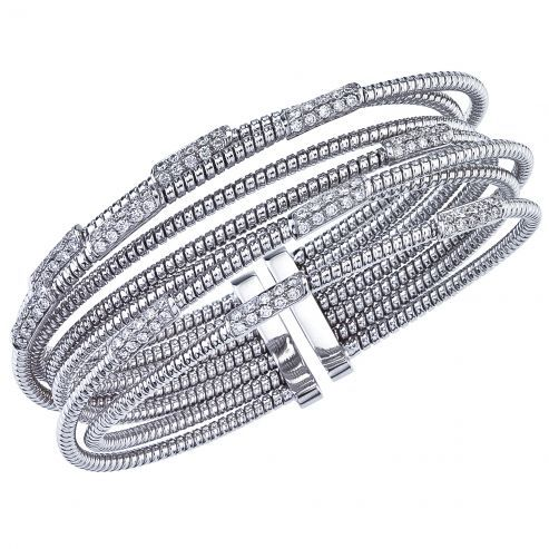 White Gold Multi-Row Cuff Bracelet