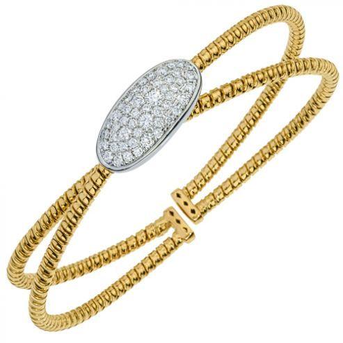 Dual Yellow Gold and Diamond Cuff Bracelet