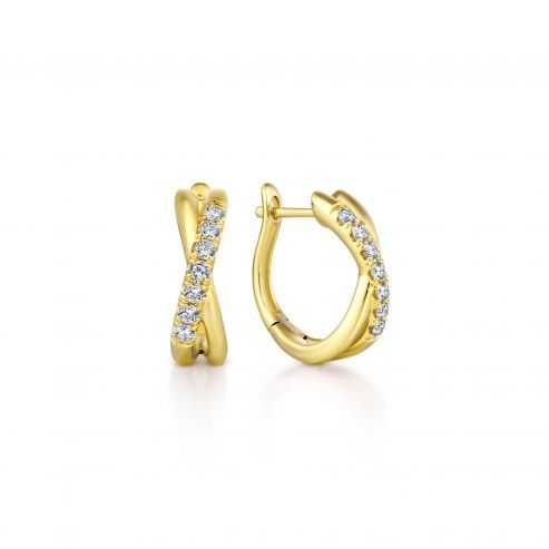 Yellow Gold Twisted 15mm Diamond Huggie Earrings