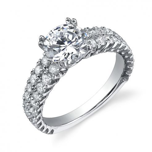 WHITE GOLD ENGAGEMENT RING WITH DOUBLE PRONGS
