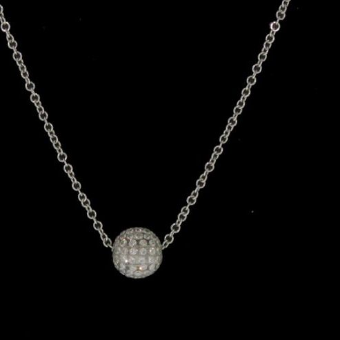 White Gold Resin Ball Pendant necklace
