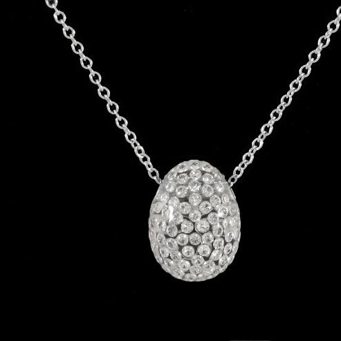 Egg Shaped Diamond Pendant Necklace