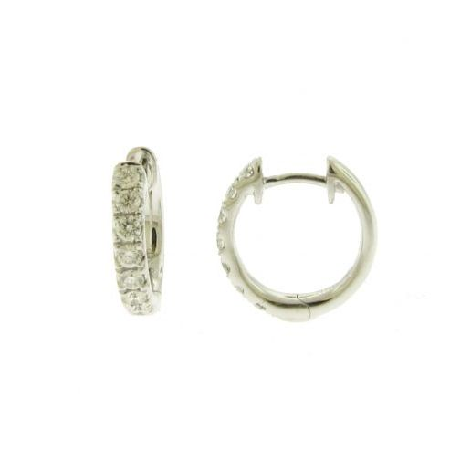 White Gold Diamond Huggie Hoops