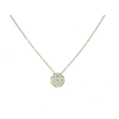White Gold Diamond Cluster Pendant Necklace
