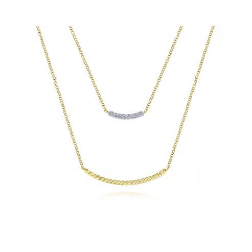 Yellow Gold Layered Twisted Diamond Bar Pendant Necklace