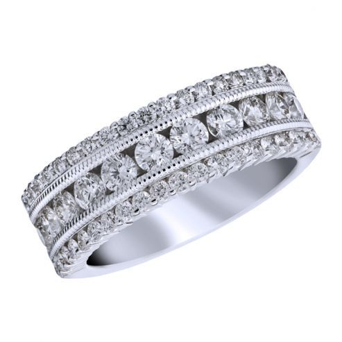 White Gold Three Row Diamond Band