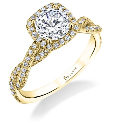 AVA - MODERN SPIRAL ENGAGEMENT RING WITH HALO
