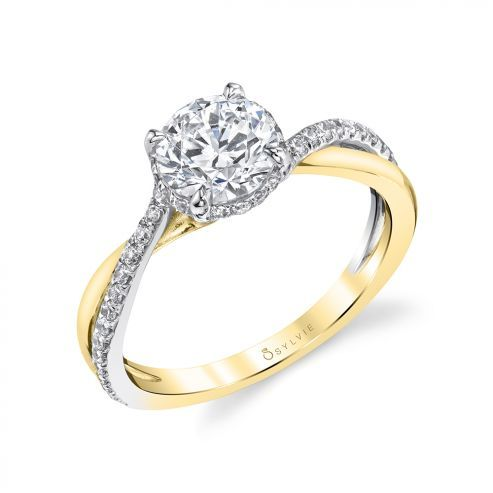 WHITE GOLD ENGAGEMENT RING WITH HIDDEN HALO