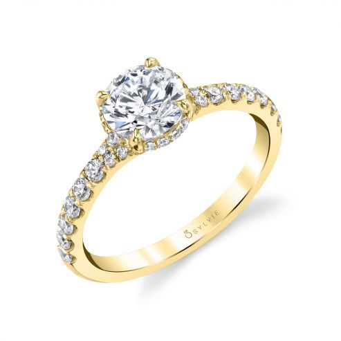 WHITE GOLD ENGAGEMENT RING WITH DELICATE HALO