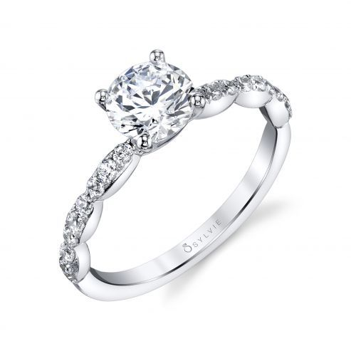 WHITE GOLD ENGAGEMENT WITH SIDE DIAMONDS