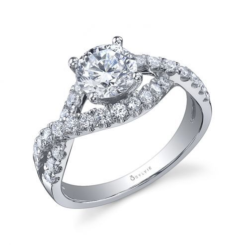 WHITE GOLD TWISTED SHANK ENGAGEMENT RING
