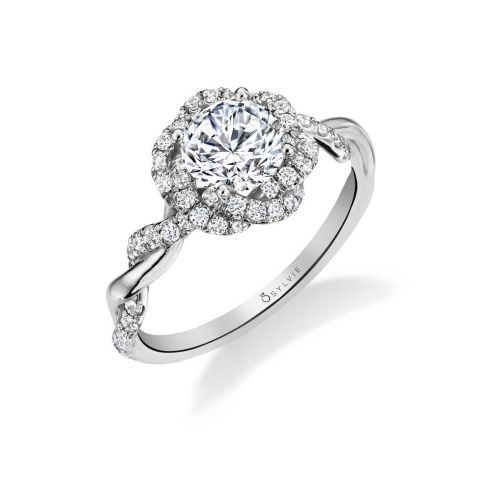 GABRIELLE - UNIQUE SPIRAL HALO ENGAGEMENT RING