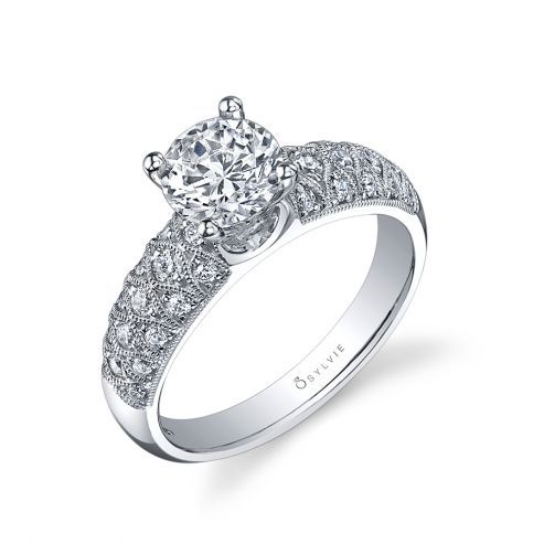 WHITE GOLD ENGAGEMENT RING-PAVE SET