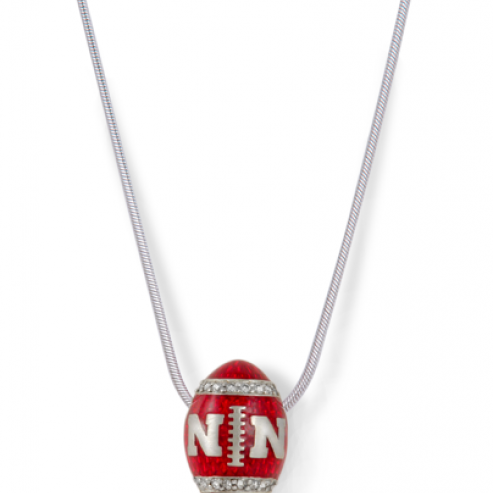 Univeristy of Nebraska Diamond Football Necklace